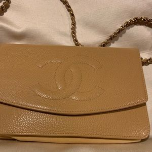 Authentic Chanel Caviar wallet on a chain